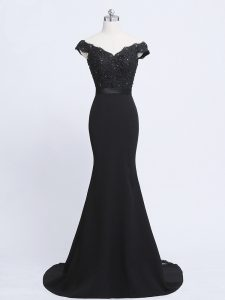 Popular Brush Train Mermaid Evening Outfits Black V-neck Chiffon and Tulle Sleeveless Zipper