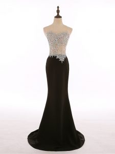 Black Zipper Scoop Beading Evening Party Dresses Chiffon Sleeveless Brush Train