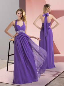 Sleeveless Floor Length Beading and Ruching Side Zipper Prom Party Dress with Purple