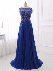 Edgy Chiffon Sleeveless Prom Dress Sweep Train and Beading