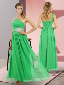 Superior Green One Shoulder Lace Up Beading Sleeveless