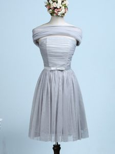 Glamorous Grey Tulle Side Zipper Strapless Sleeveless Mini Length Wedding Guest Dresses Belt
