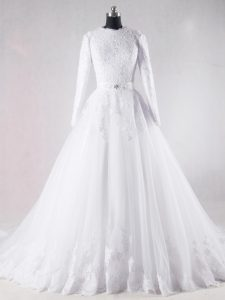 Scalloped Long Sleeves Brush Train Lace Up Wedding Gown White Tulle