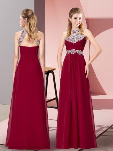 Fashionable Floor Length Zipper Prom Party Dress Burgundy for Prom and Sweet 16 and Beach with Beading and Ruching