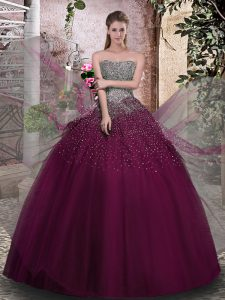 Tulle Strapless Sleeveless Lace Up Beading 15th Birthday Dress in Purple