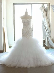 Sleeveless Tulle Brush Train Lace Up Wedding Dress in White with Beading and Ruffles