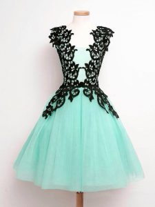 Low Price Turquoise Sleeveless Knee Length Lace Lace Up Quinceanera Court of Honor Dress