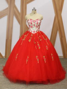 Red Sweet 16 Dress Military Ball and Sweet 16 and Quinceanera with Embroidery and Ruffled Layers Sweetheart Sleeveless Sweep Train Lace Up
