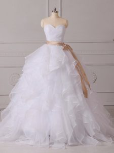Custom Designed White Organza Lace Up Sweetheart Sleeveless Wedding Gowns Brush Train Beading and Ruffles and Sashes ribbons