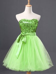 Yellow Green Sleeveless Sashes ribbons and Sequins Mini Length