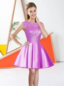 Great Lilac A-line Taffeta Bateau Sleeveless Beading and Lace Knee Length Backless Bridesmaids Dress