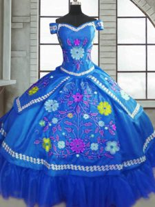 Blue Short Sleeves Floor Length Beading and Embroidery Lace Up Quinceanera Gown