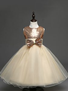 Tea Length Champagne Flower Girl Dress Scoop Sleeveless Zipper
