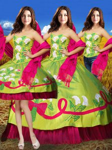 Eye-catching Embroidery Quinceanera Gown Olive Green Lace Up Sleeveless Floor Length