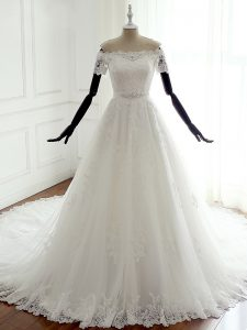 Tulle Off The Shoulder Sleeveless Court Train Lace Up Lace Wedding Dress in White