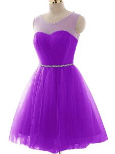 Mini Length Purple Prom Dresses Tulle Sleeveless Beading and Ruching