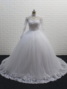 Tulle High-neck Long Sleeves Brush Train Clasp Handle Lace Wedding Dresses in White