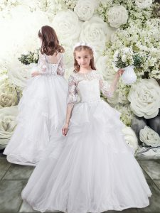White Tulle Lace Up Scoop Half Sleeves Flower Girl Dresses for Less Brush Train Lace and Ruffles