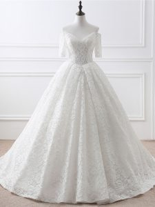 Elegant White A-line Organza and Lace Off The Shoulder Half Sleeves Lace and Appliques Lace Up Wedding Gowns Brush Train