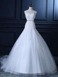 Luxury Sweetheart Sleeveless Wedding Gowns Court Train Beading and Lace White Tulle