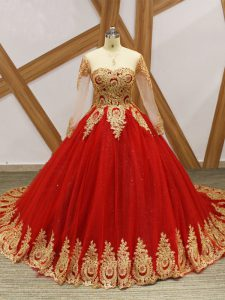 Latest Long Sleeves Tulle Court Train Lace Up Quinceanera Gowns in Wine Red with Beading and Appliques