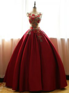 Floor Length Ball Gowns Sleeveless Wine Red Sweet 16 Dresses Lace Up