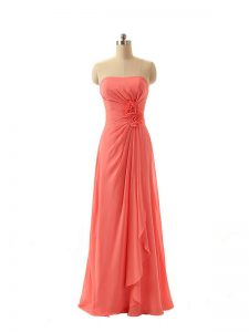 Glittering Empire Bridesmaid Dress Watermelon Red Strapless Chiffon Sleeveless Floor Length Zipper