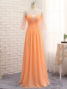 Hot Sale Orange Long Sleeves Floor Length Lace and Appliques and Ruching Zipper Evening Dresses
