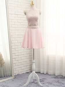 New Arrival Pink Halter Top Neckline Beading Evening Dress Sleeveless Zipper