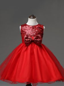 Red Tulle Zipper Scoop Sleeveless Tea Length Child Pageant Dress Sequins and Bowknot