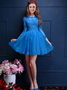 Stylish Teal 3 4 Length Sleeve Beading and Lace and Appliques Mini Length Quinceanera Dama Dress