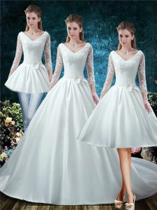 High Quality White V-neck Lace Up Lace and Belt Bridal Gown Court Train 3 4 Length Sleeve