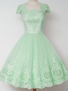 Apple Green A-line Tulle Square Cap Sleeves Lace Knee Length Zipper Bridesmaid Dress