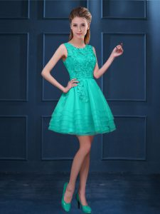 Exquisite Tulle Sleeveless Knee Length Court Dresses for Sweet 16 and Lace and Ruffled Layers
