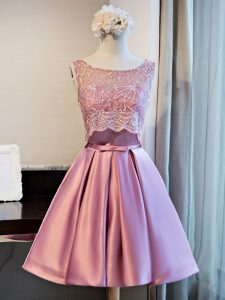 Elegant Lilac A-line Satin Scoop Sleeveless Lace and Appliques and Belt Mini Length Lace Up Junior Homecoming Dress