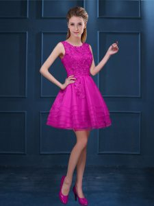 A-line Bridesmaid Dress Fuchsia Scoop Tulle Sleeveless Knee Length Zipper