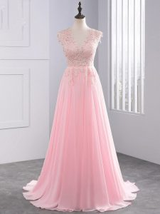 Sleeveless Appliques Side Zipper Evening Gowns with Baby Pink Brush Train