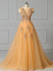 Discount Gold Dress for Prom Tulle Brush Train Sleeveless Appliques and Pattern