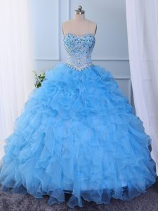Floor Length Lace Up Quinceanera Dress Baby Blue for Prom and Party and Military Ball and Sweet 16 and Quinceanera with Beading and Embroidery and Ruffled Layers