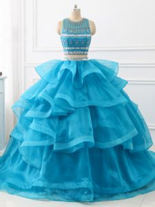 Artistic Baby Blue Two Pieces Beading and Ruffles 15th Birthday Dress Backless Tulle Sleeveless