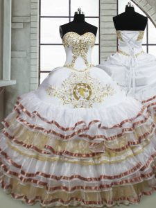 Excellent White Sweetheart Neckline Beading and Embroidery and Ruffled Layers Quinceanera Dress Sleeveless Lace Up