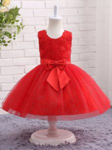 Tulle Sleeveless Mini Length Child Pageant Dress and Bowknot