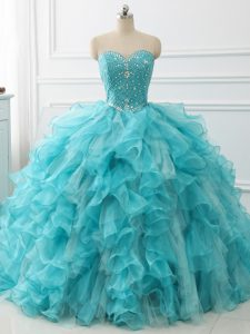 Aqua Blue Lace Up 15th Birthday Dress Beading and Ruffles Sleeveless Brush Train