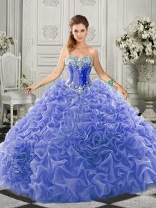 Beautiful Blue Ball Gowns Organza Sweetheart Sleeveless Beading and Ruffles Lace Up 15th Birthday Dress Court Train