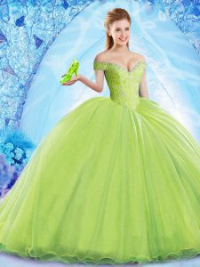 Fitting Yellow Green Sleeveless Organza Brush Train Lace Up Quinceanera Dresses for Military Ball and Sweet 16 and Quinceanera