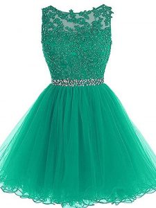 Trendy Tulle Sleeveless Mini Length Club Wear and Beading and Lace and Appliques and Belt