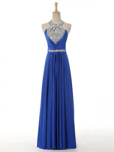 Super Royal Blue Zipper Going Out Dresses Beading and Ruching Sleeveless Floor Length