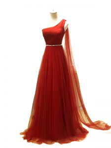 Customized Tulle One Shoulder Sleeveless Brush Train Zipper Beading and Ruching Formal Evening Gowns in Rust Red