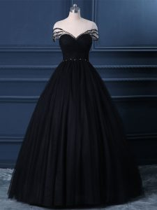 Stylish Black Short Sleeves Beading Floor Length Evening Wear