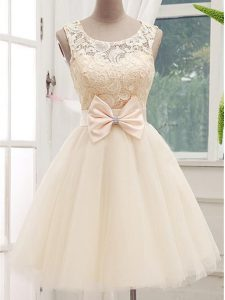 Elegant Champagne A-line Lace and Bowknot Vestidos de Damas Lace Up Tulle Sleeveless Knee Length